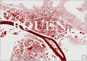 Les bâtiments de Rouen et la Seine