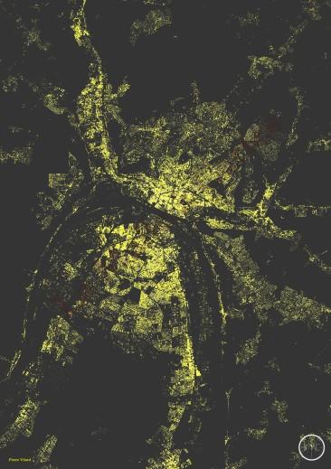 Les bâtiments de Rouen, effet nuit