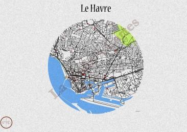Le Havre, avec les jardins et quelques bâtiments