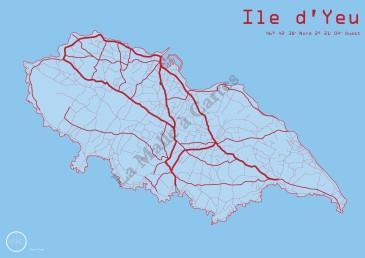 Les Routes de Yeu en Rouge et bleu océan