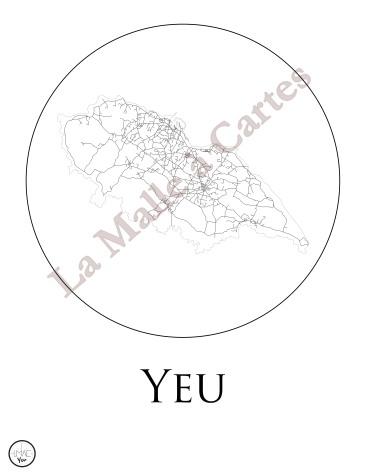 Les Routes de Yeu en noir et blanc, encerclées